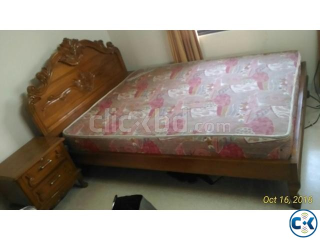 100 Shegun Kather Double Bed Khat sidetable mattress | ClickBD large image 0