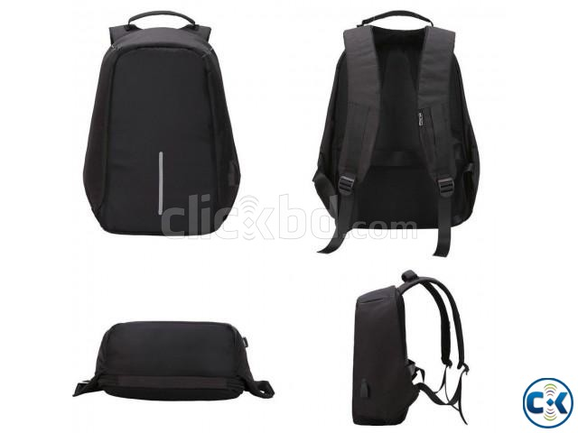 Anti-theft Backpack With USB Charge Port Black | ClickBD large image 0