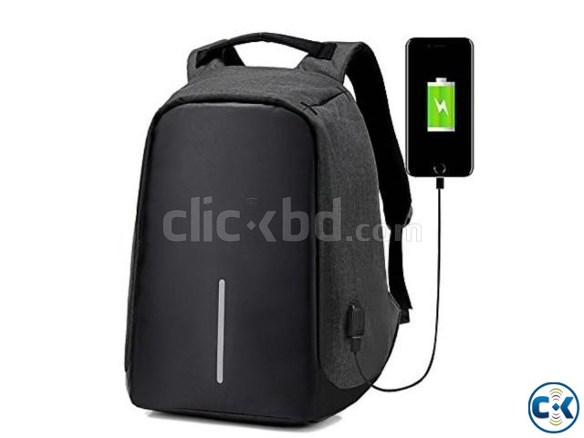 Anti-theft Backpack With USB Charge Port Black | ClickBD large image 1