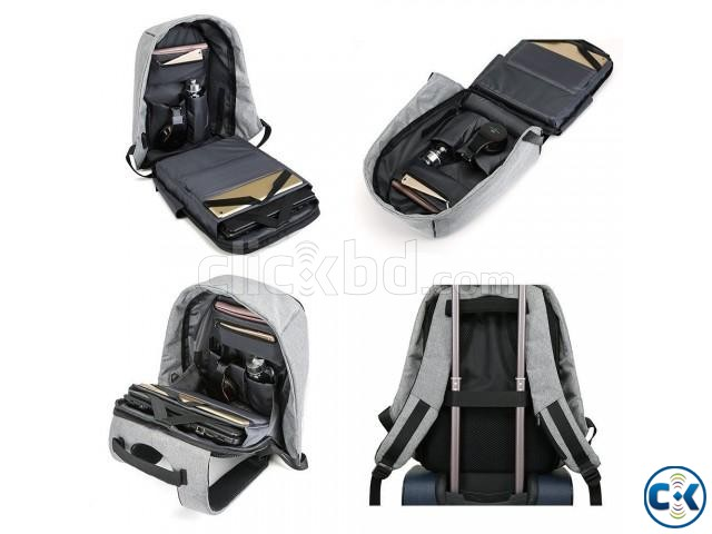 Anti-theft Backpack With USB Charge Port Black | ClickBD large image 2