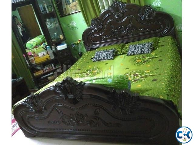 Solid Wooden Queen Size Bed | ClickBD large image 0