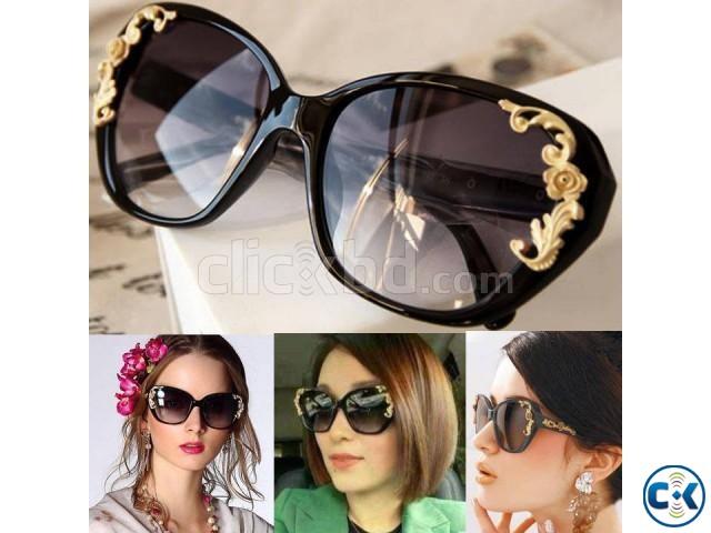 Flower Carving Women Fashion Cat Eye Vintage Sunglasses Glas | ClickBD large image 0
