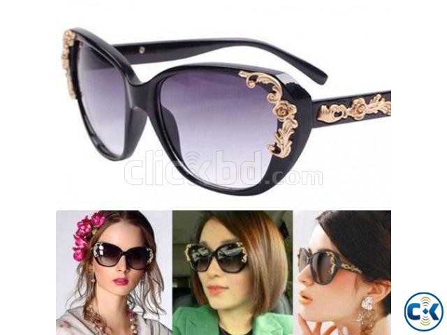 Flower Carving Women Fashion Cat Eye Vintage Sunglasses Glas | ClickBD large image 0