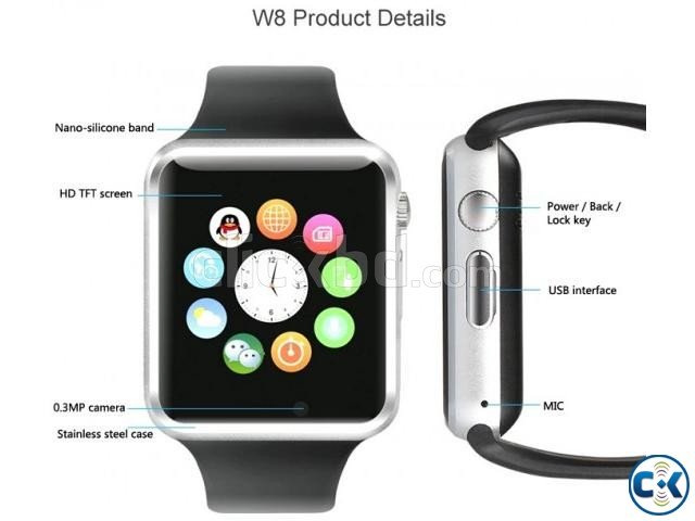 i-watch W8 smart Mobile watch Single Sim intact Box | ClickBD large image 1