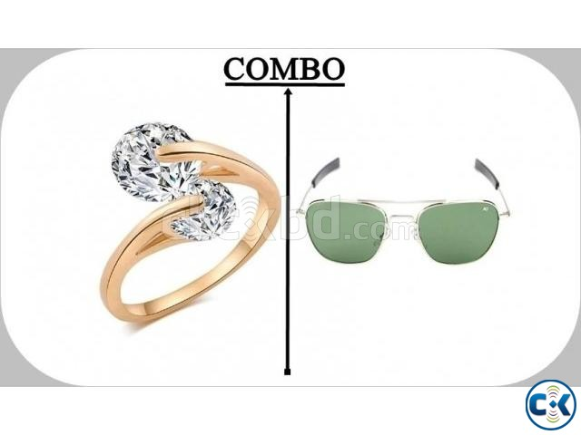 Combo of Titanic Heart Shape Finger Ring AO Men s Sunglass | ClickBD large image 0