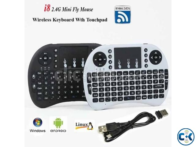 i8 Wireless Mini Keyboard with touchpad | ClickBD large image 1