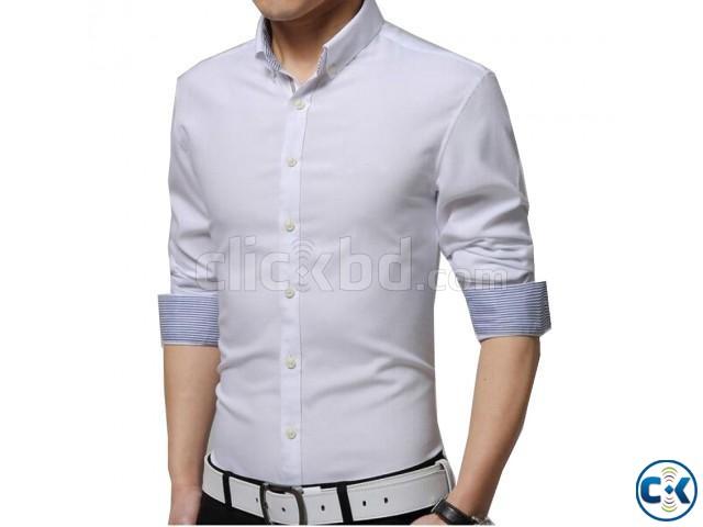 Mens Formal White Full Sleeve Shirt   ClickBD large image 0