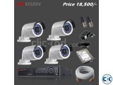 4 Pcs HIKVISION HD CC Camera full setup