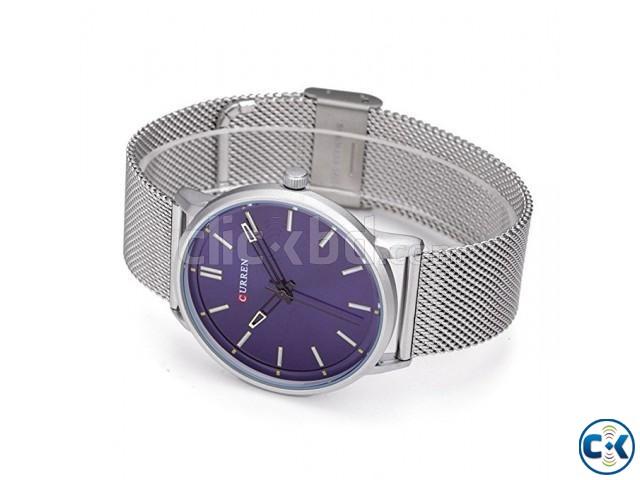 CURREN 8233 Fashion Men Quartz Watch BLUE Dial Net Chain | ClickBD large image 0