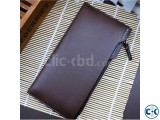 BOGESI Long Brown Genuine Leather Wallet
