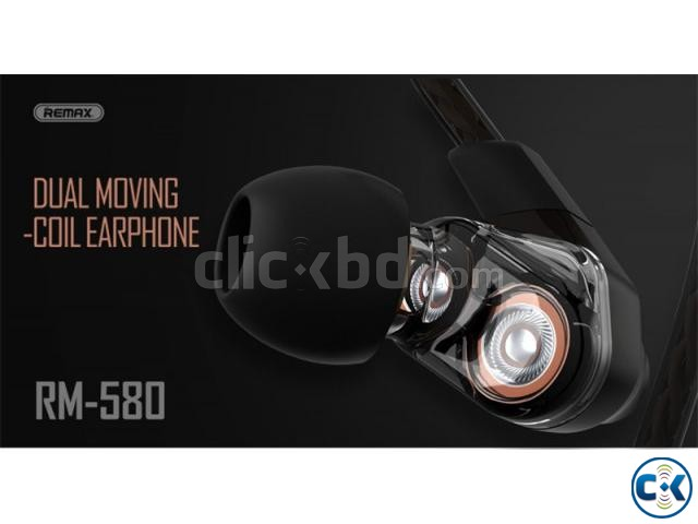 Remax RM-580 Dual Moving-Coli Dynamic Driver Earphone | ClickBD large image 1