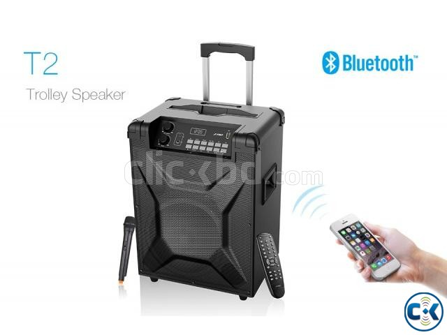 F D T2 Bluetooth 4.2 FM Crystal Sound Trolley Speaker | ClickBD large image 2