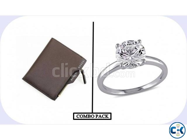Combo of Wallet and Silver Plated Finger Ring | ClickBD large image 0