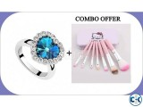 Combo of Titanic Heart Shape Finger Ring Makeup Brush Set