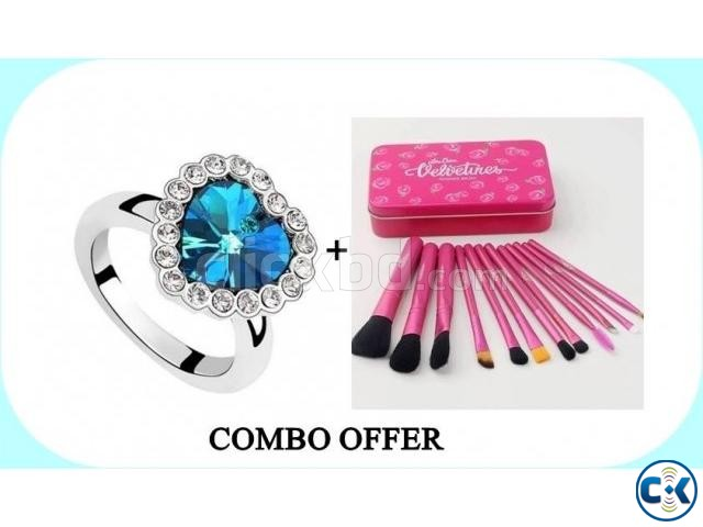 Combo of Titanic Heart Shape Finger Ring Makeup Brush Set | ClickBD large image 0