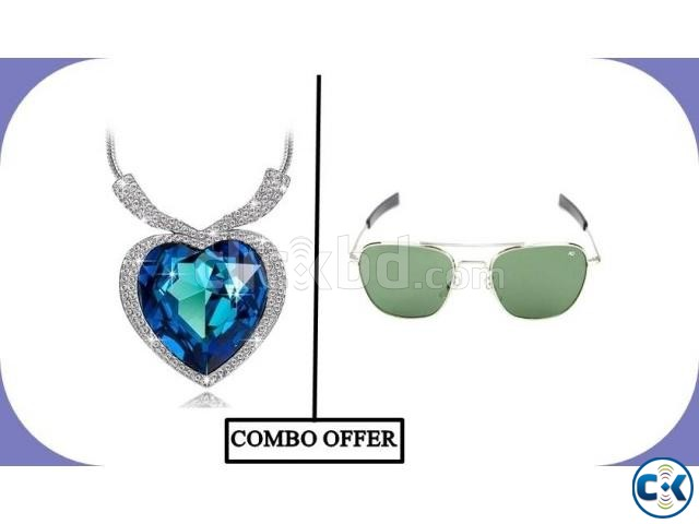 Titanic Heart Shaped Necklace AO Men s Sunglasses Combo | ClickBD large image 0