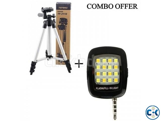 Combo of Tripod-3110 Camera and Mobile Stand 16 LED Selfie | ClickBD large image 1