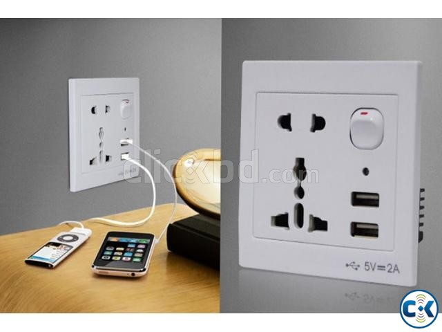 Socket with mobile charge Port- 2  | ClickBD large image 0