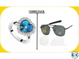Combo of Titanic Heart Shape Finger Ring AO Men s Sunglass