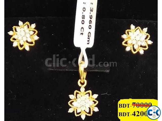 Diamond with Gold PENDANT 40 SET off | ClickBD large image 0