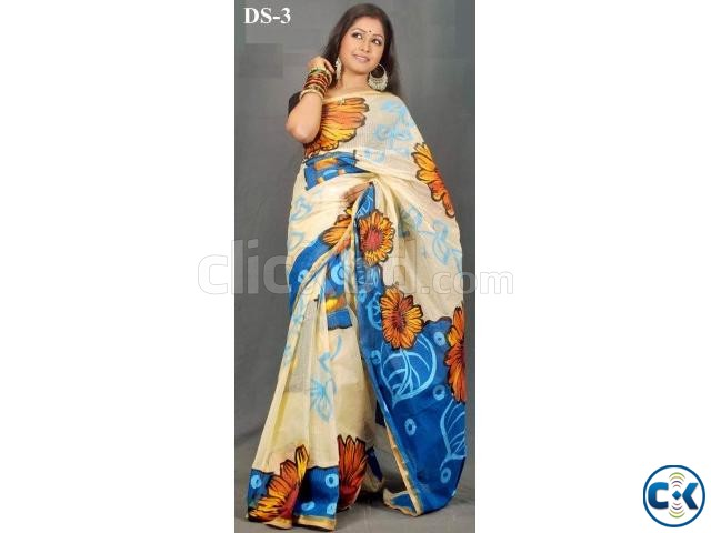 Cotton kota handprint saree ds-03 | ClickBD large image 0