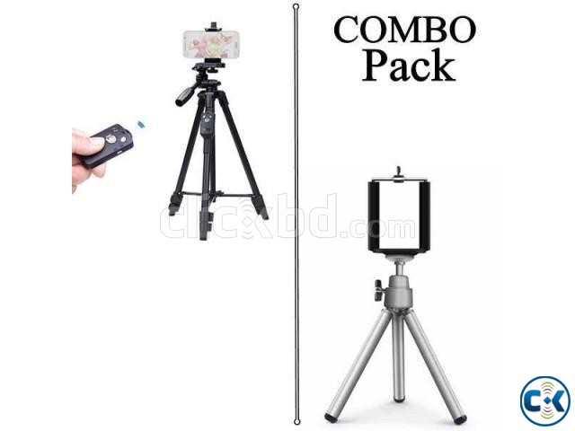 Combo Offer- Professional Tripod for Mobile Camera DSLR with | ClickBD large image 0