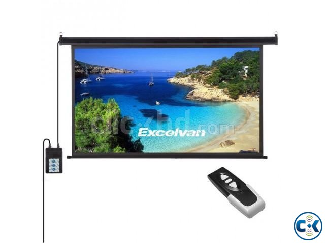 84 x 84 Matte White Motorized Projection Screen | ClickBD large image 0