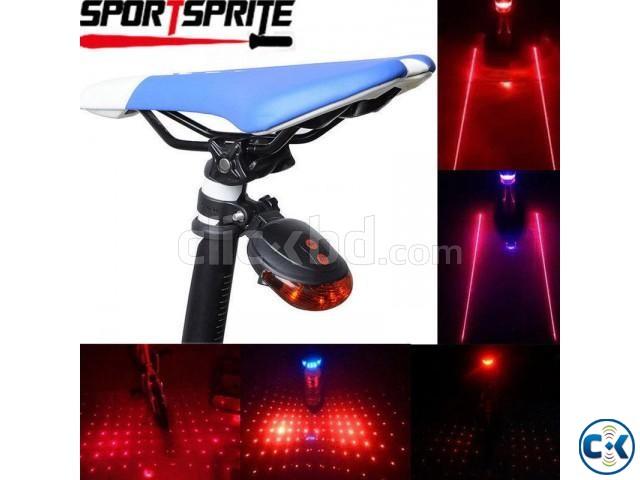 2 Laser Beam Blue 5 LED Flashing Cycling Bike Rear Tail Warning Lamp Safety Warn