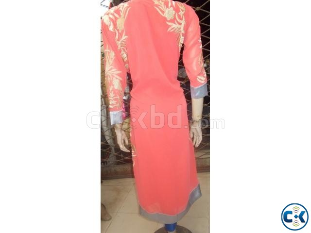 Pink and Golden Kurti for Women | ClickBD large image 0