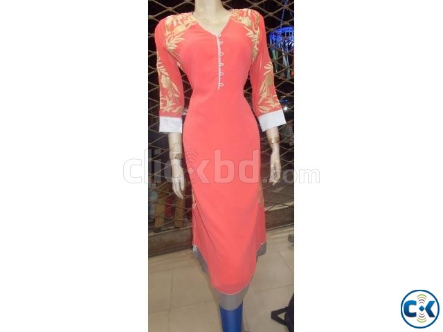 Pink and Golden Kurti for Women | ClickBD large image 1