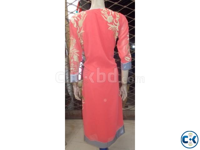 Pink and Golden Kurti for Women | ClickBD large image 2