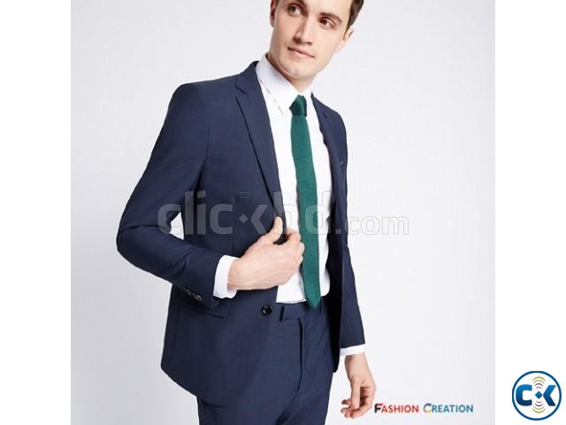 M S Limited Edition Blue Checked Modern Slim Fit Blazer | ClickBD large image 0