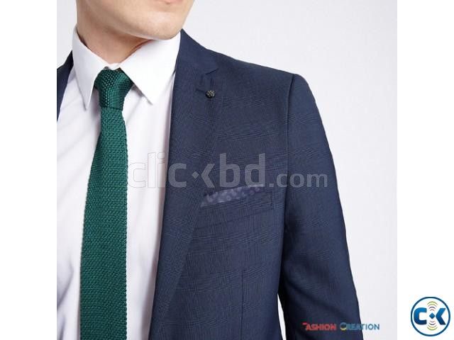 M S Limited Edition Blue Checked Modern Slim Fit Blazer | ClickBD large image 3
