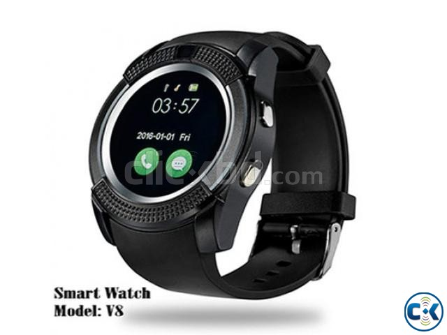 V8 Smart Watch support Sim TF Card Slot Bluetooth Clock with | ClickBD large image 0