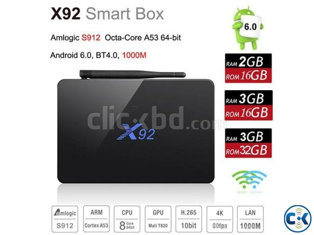 X92 Amlogic S912 OctaCore Android 7.1 TV Box | ClickBD large image 1