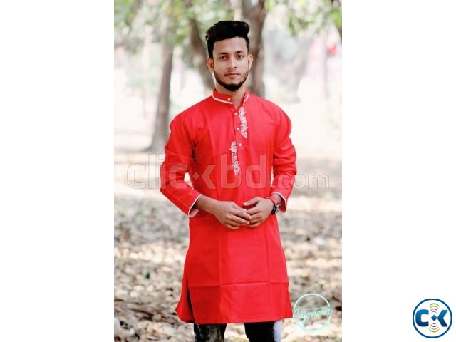 Red Cotton Casual Long Panjabi for Men | ClickBD large image 0