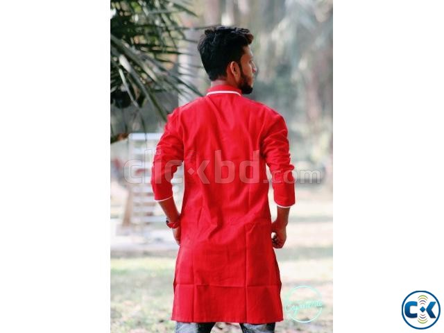 Red Cotton Casual Long Panjabi for Men | ClickBD large image 1