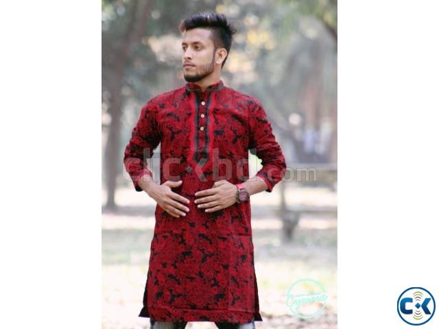 Red and Black Cotton Casual Long Panjabi for Men | ClickBD large image 0