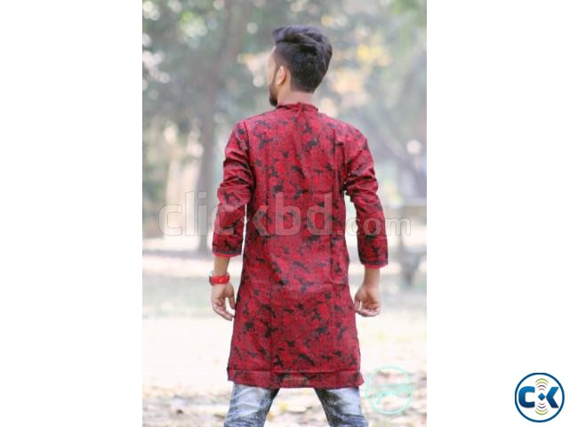 Red and Black Cotton Casual Long Panjabi for Men | ClickBD large image 1