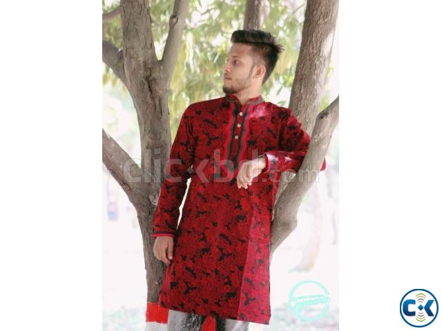 Red and Black Cotton Casual Long Panjabi for Men | ClickBD large image 2