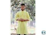 Yellow Cotton Casual Long Panjabi for Men