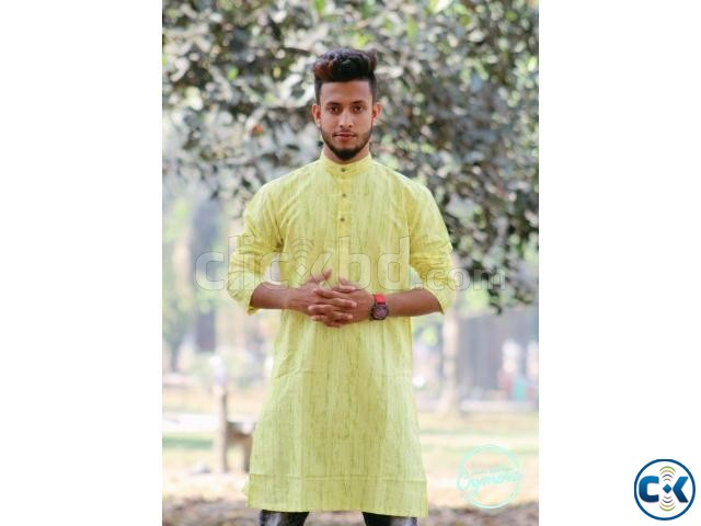 Yellow Cotton Casual Long Panjabi for Men | ClickBD large image 0