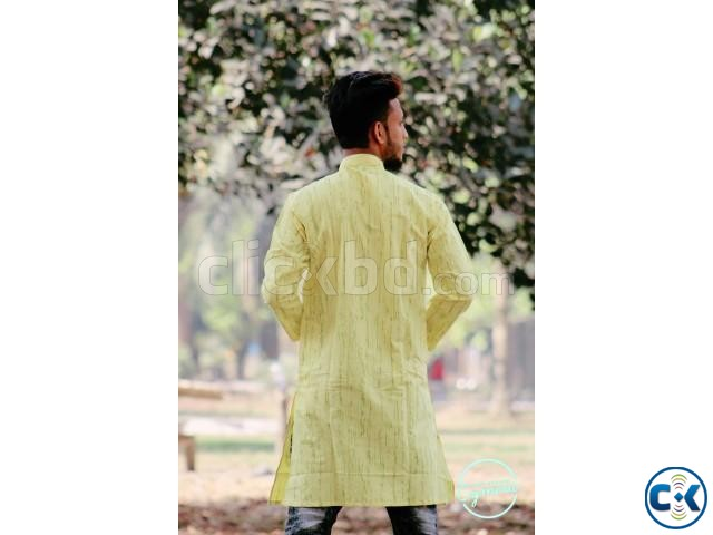 Yellow Cotton Casual Long Panjabi for Men | ClickBD large image 2