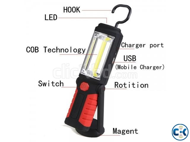 USB Rechargeable LED Flashlight Torch 360 degree | ClickBD large image 2