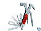 12 in 1 Multi-Function Hammer - Survival Tools - Red and Sil