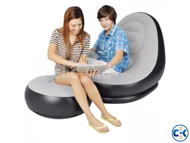 2 in 1 Air Chair and Footrest Sofa Free Electric Air pumper | ClickBD large image 0