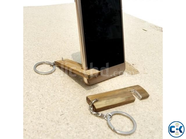 Bamboo Key Ring Mobile Stand | ClickBD large image 1