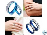 Blue and Silver Stainless Steel Finger Ring Couple