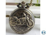 Mens New Vintage Bronze Motorbike Motorcycle Pocket Watch