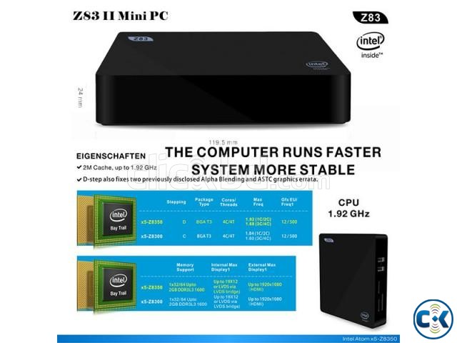 Z83II Intel Atom x5-Z8350 64bit Win10 Mini PC 2GB DDR3 RAM U | ClickBD large image 3